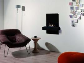 Hangmodel XARALYN Quero met bio ethanol brander met achterwand in zwart, glas, RVS of cortenstaal